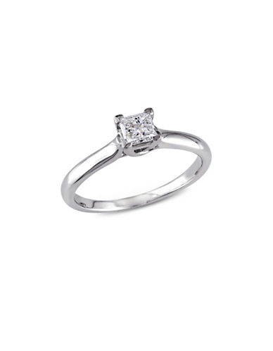 Concerto Princess-Cut Diamond 14K White Gold Solitaire Ring-WHITE-8