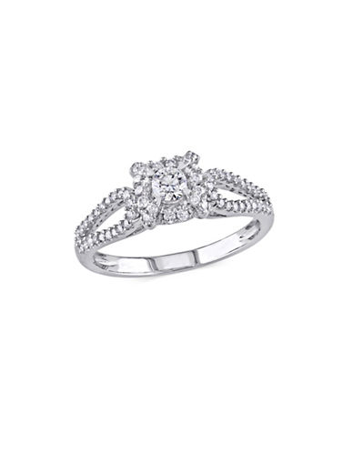 Concerto Diamond Halo 14K White Gold Engagement Ring-WHITE-8