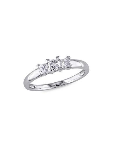Concerto Princess-Cut Diamond Three-Stone 14K White Gold Engagement Ring-WHITE-5