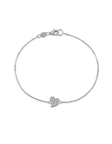 Concerto 14K White Gold and 0.10TCW Diamonds Heart Bracelet-WHITE-One Size