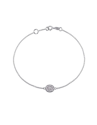 Concerto 0.10 TCW Diamonds 14K White Gold Halo Circle Bracelet-WHITE-One Size