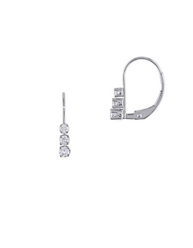 Concerto 14K White Gold and 0.25TCW Diamonds Three-Stone Earrings-WHITE-One Size