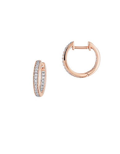 Concerto 14K Rose Gold and 0.25TCW Diamonds Inside Outside Hoop Earrings-ROSE GOLD-One Size