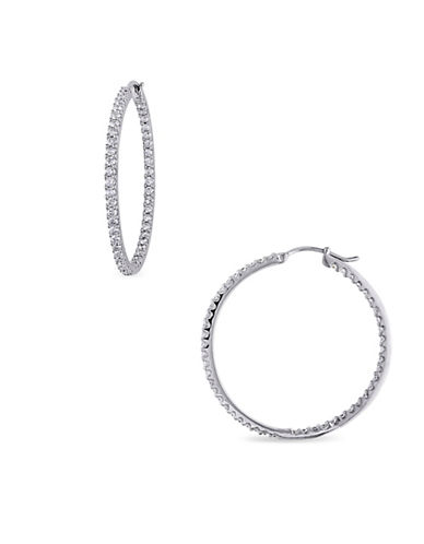 Concerto 14K White Gold and 2TCW Diamonds Inside Outside Hoop Earrings-WHITE-One Size