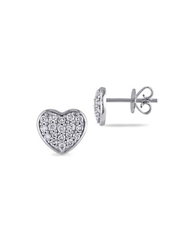 Concerto 14K White Gold and 0.35TCW Diamonds Heart Earrings-WHITE-One Size