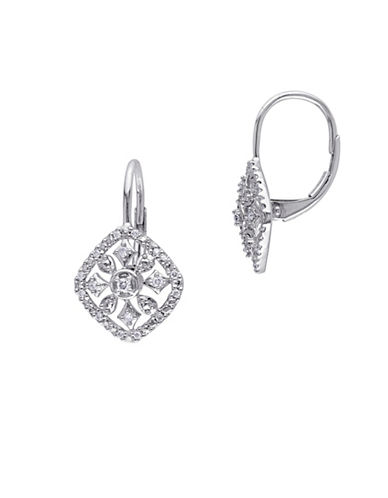 Concerto 14K White Gold and 0.14TCW Diamonds Lattice Earrings-WHITE-One Size