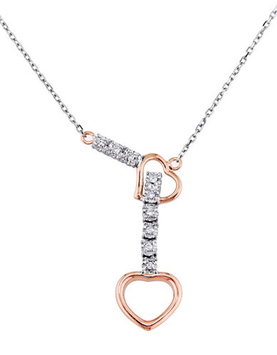 Concerto 14K Two-Tone Gold and 0.05TCW Diamonds Heart Lariat Necklace-TWO TONE-One Size