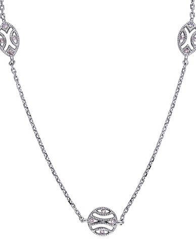 Concerto 14K White Gold and 0.15TCW Diamonds Station Necklace-WHITE-One Size