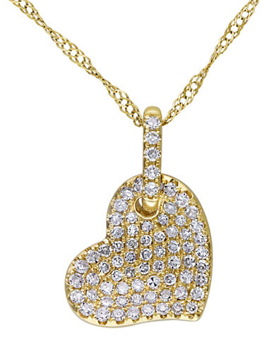 Concerto 14K Yellow Gold and 0.25TCW Diamonds Heart Pendant Necklace-YELLOW GOLD-One Size