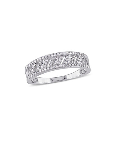 Concerto 14K White Gold and 0.268TCW Diamonds Lattice Anniversary Ring-WHITE-8