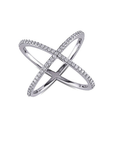 Concerto 14K White Gold and 0.366TCW Diamonds Crisscross Ring-WHITE-6