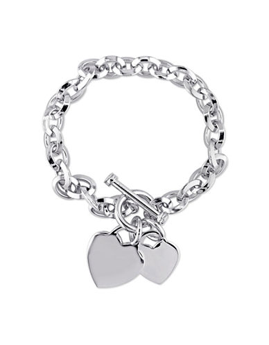 Concerto Sterling Silver Heart Charm Bracelet-WHITE-One Size
