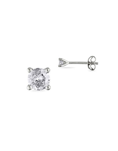 Concerto Sterling Silver and 0.25TCW Diamonds Solitaire Stud Earrings-WHITE-One Size