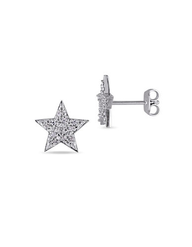 Concerto Sterling Silver and 0.10TCW Diamonds Star Earrings-WHITE-One Size