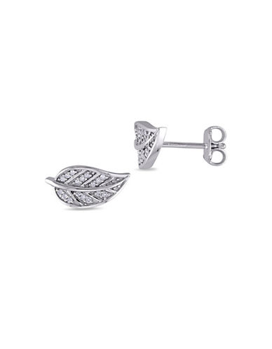 Concerto Sterling Silver and 0.10TCW Diamonds Leaf Stud Earrings-WHITE-One Size