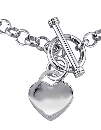 Concerto Sterling Silver Heart Charm Necklace-WHITE-One Size