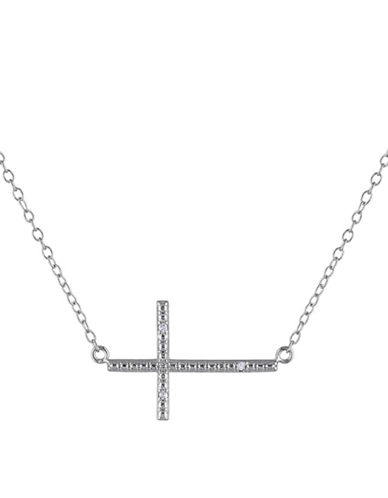 Concerto Sterling Silver and 0.015TCW Diamonds Cross Pendant Necklace-WHITE-One Size