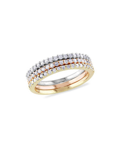 Concerto 0.60TCW Diamond Triple Row Ring Set in Tri-Color Sterling Silver-TRI COLOUR-8