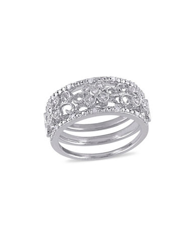Concerto 0.10TCW Diamond Filigree Vintage 3 Piece Ring Set in Sterling Silver-WHITE-7