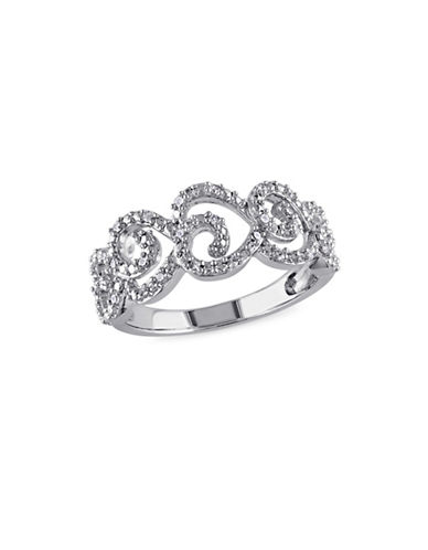 Concerto Sterling Silver 0.15TCW Diamond Scroll Ring-WHITE-7