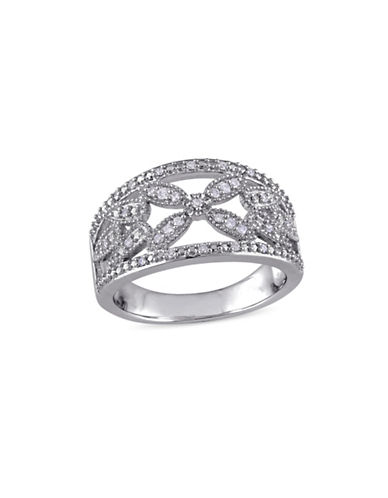 Concerto 0.14 TCW Diamond Filigree Floral Ring in Sterling Silver-WHITE-9