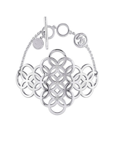 Catherine Malandrino Sterling Silver and 0.1TCW Diamond Circle Linked Cluster Bracelet-SILVER-One Size