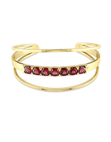 Catherine Malandrino 18K Goldplated Garnet Open Wrap Cuff Bracelet-RED-One Size