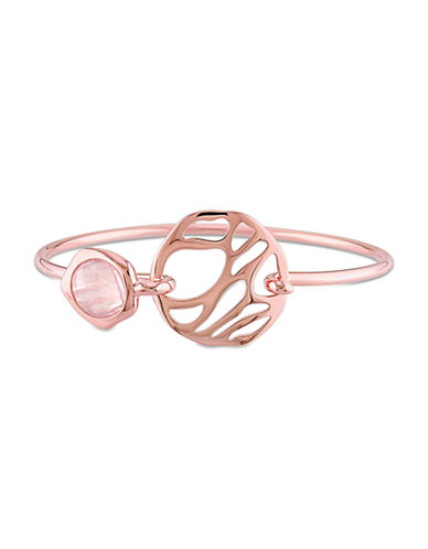 Catherine Malandrino 18K Rose Goldplated Rose Quartz Bangle Bracelet-PINK-One Size