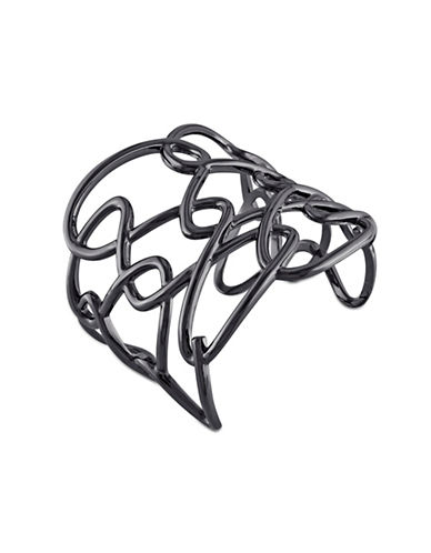 Catherine Malandrino Black Rhodium Sterling Silver Interlace Cuff Bracelet-BLACK-One Size