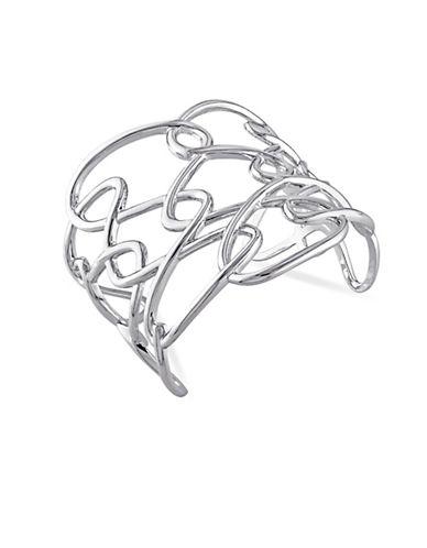 Catherine Malandrino Sterling Silver Interlace Cuff Bracelet-WHITE-One Size