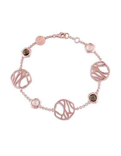 Catherine Malandrino 18K Rose Goldplated Rose and Smokey Quartz Bracelet-ROSE GOLD-One Size