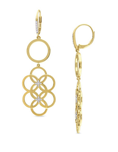 Catherine Malandrino 18K Goldplated and 0.2TCW Diamond Circle Linked Floral Drop Earrings-GOLD-One Size