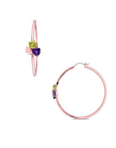 Catherine Malandrino 18K Rose Goldplated Multi-Gemstone Cluster Hoop Earrings-MULTI-One Size