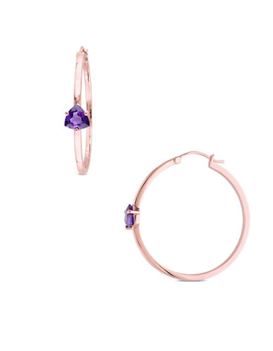 Catherine Malandrino 18K Goldplated Amethyst Hoop Earrings-PURPLE-One Size