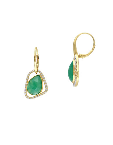Catherine Malandrino 18K Goldplated 0.25TCW Diamonds and Green Onyx Abstract Earrings-GREEN-One Size