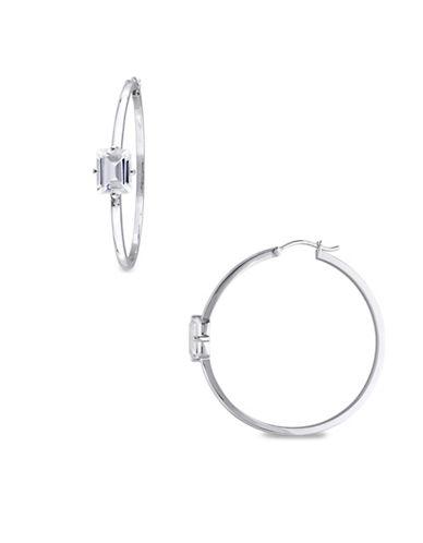 Catherine Malandrino Sterling Silver White Topaz Hoop Earrings-WHITE-One Size