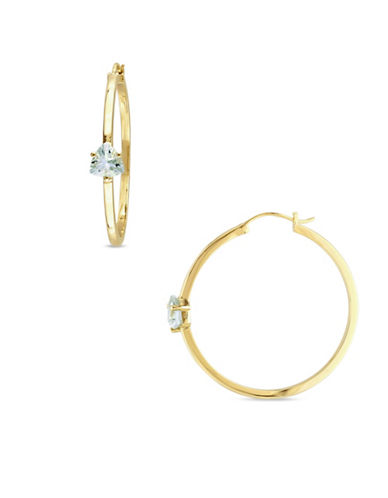 Catherine Malandrino 18K Goldplated Green Amethyst Hoop Earrings-GREEN-One Size