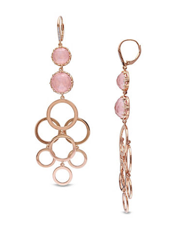 Catherine Malandrino 18K Rose Goldplated 0.06TCW Diamonds and Guava Quartz Circle Linked Drop Earrings-ROSE GOLD-One Size
