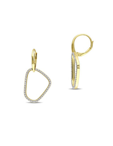 Catherine Malandrino 18K Goldplated and 0.25TCW Diamond Abstract Earrings-GOLD-One Size