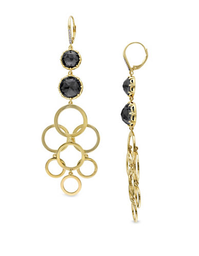 Catherine Malandrino 18K Goldplated 0.06TCW Diamonds and Hematite Circle Linked Drop Earrings-BLACK-One Size