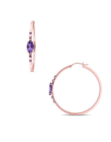 Catherine Malandrino 18K Rose Goldplated Amethyst Hoop Earrings-PURPLE-One Size