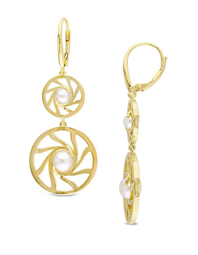 Catherine Malandrino 18K Goldplated 5-7.5mm Cultured Pearl Swirl Drop Earrings-WHITE-One Size