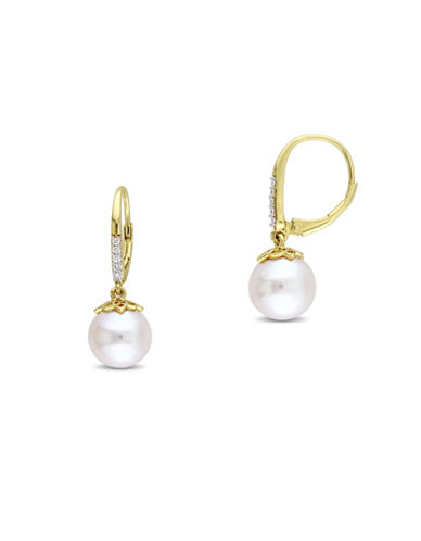 Catherine Malandrino 18K Goldplated 0.10TCW Diamond and 10-10.5mm Cultured Pearl Earrings-WHITE-One Size