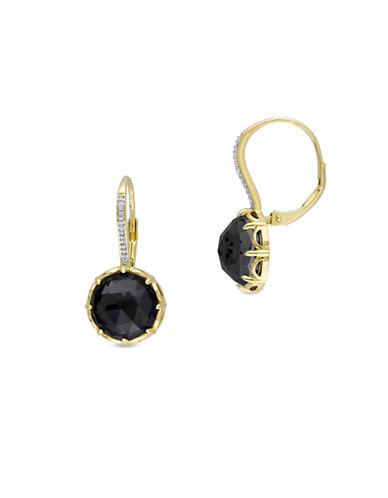 Catherine Malandrino 18K Goldplated 0.10TCW Diamonds and Hematite Drop Earrings-BLACK-One Size