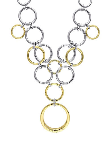 Catherine Malandrino 18K Goldplated and Sterling Silver 0.25TCW Diamonds Circle Linked Cluster Drop Necklace-GOLD-One Size