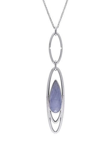 Catherine Malandrino Sterling Silver Blue Agate Link Drop Necklace-BLUE-One Size