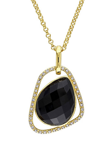 Catherine Malandrino 18K Goldplated 0.16TCW Diamond and Black Agate Abstract Pendant Necklace-BLACK-One Size