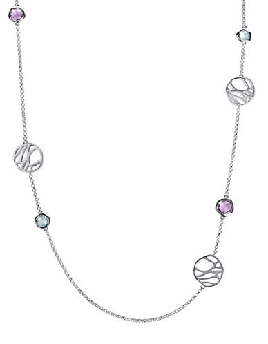 Catherine Malandrino Sterling Silver Blue Topaz and Amethyst Station Necklace-MULTI-One Size
