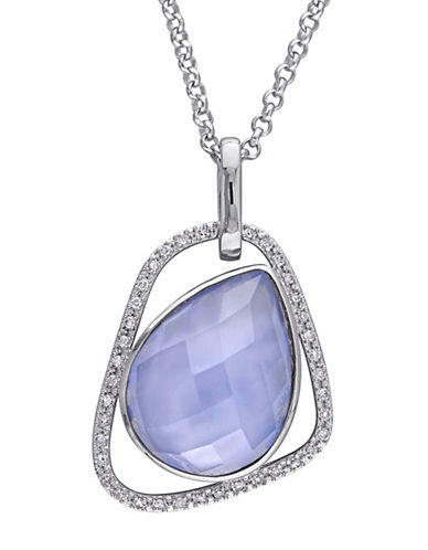 Catherine Malandrino Sterling Silver 0.16TCW Diamond and Blue Agate Abstract Pendant Necklace-BLUE-One Size