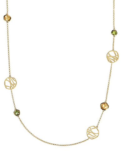 Catherine Malandrino 18K Goldplated Peridot and Citrine Station Necklace-MULTI-One Size